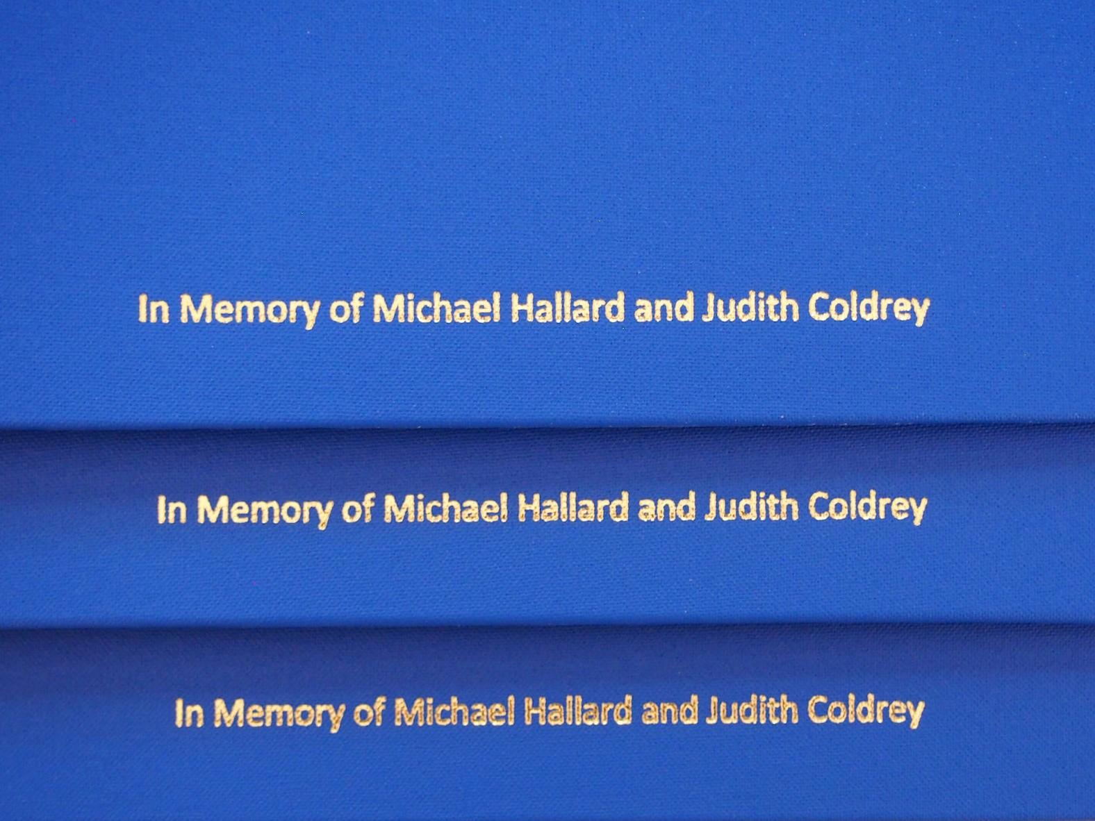 Memorial Dedication on Choir folders